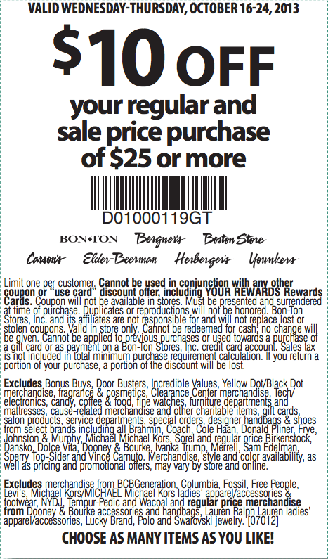photo about Carsons in Store Coupons Printable called Carson Pirie Scott: $10 off $25 Printable Coupon Coupon
