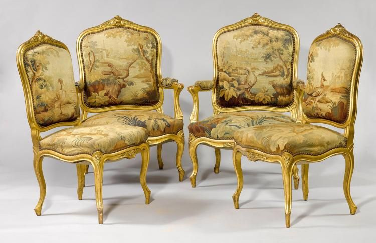 PAIR OF FAUTEUILS AND PAIR OF CHAIRS WITH A TAPESTRY COVER,