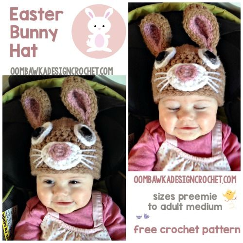 Easter Bunny Hat Free Crochet pattern Oombawka Design | Easter ...