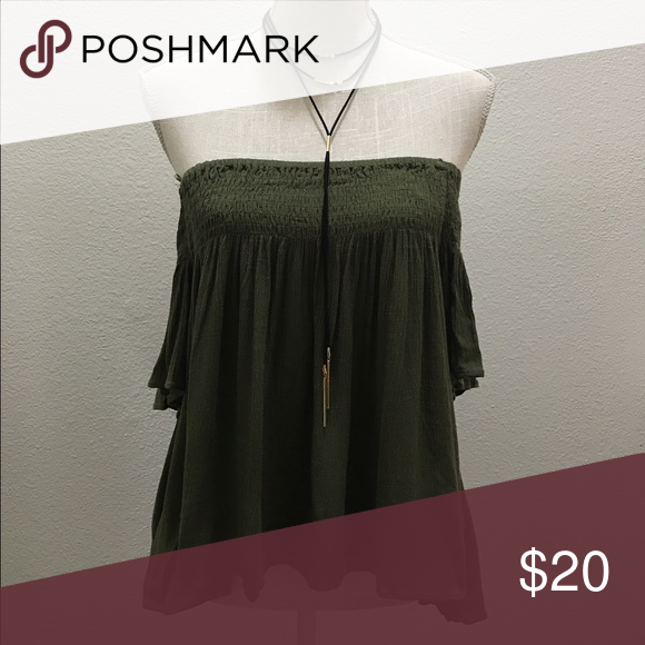 Olive green top Off the shoulder top in olive green alynthea Tops Blouses