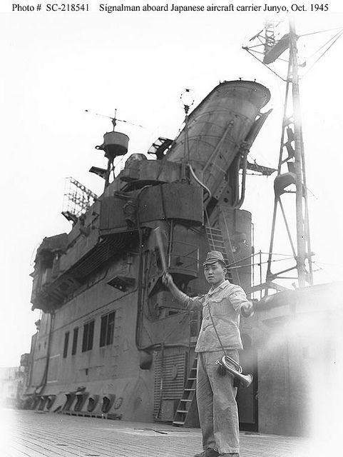 Japanese signalman on IJN Junyo 1945..