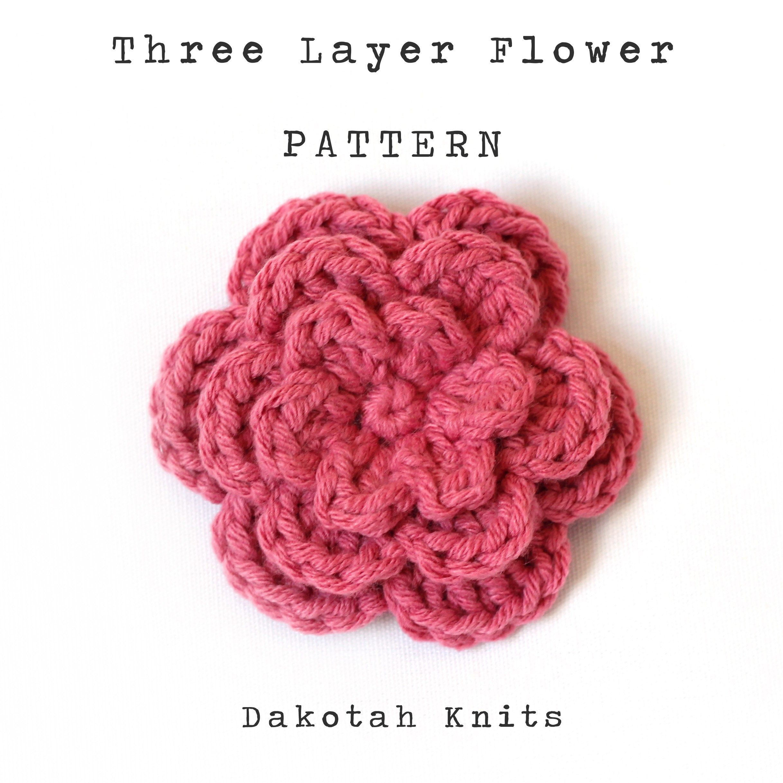 Three Layer Flower Pattern ::Free Pattern:: #crochetflowers