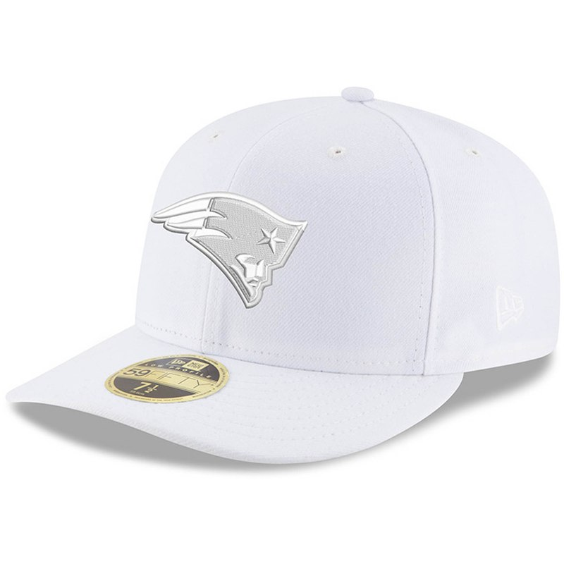 e8b0cf649 New England Patriots New Era White on White Low Profile 59FIFTY Fitted Hat