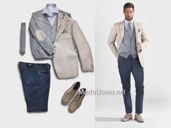 camicia azzurra con giacca beige uomo