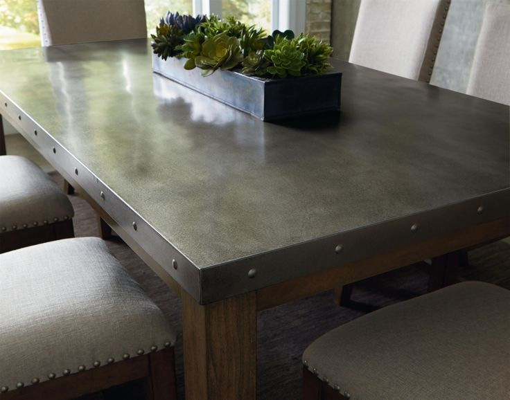 Stainless Steel Dining Room Tables Metal Table Top  Decorating With Tinmetal  Pinterest  Metals