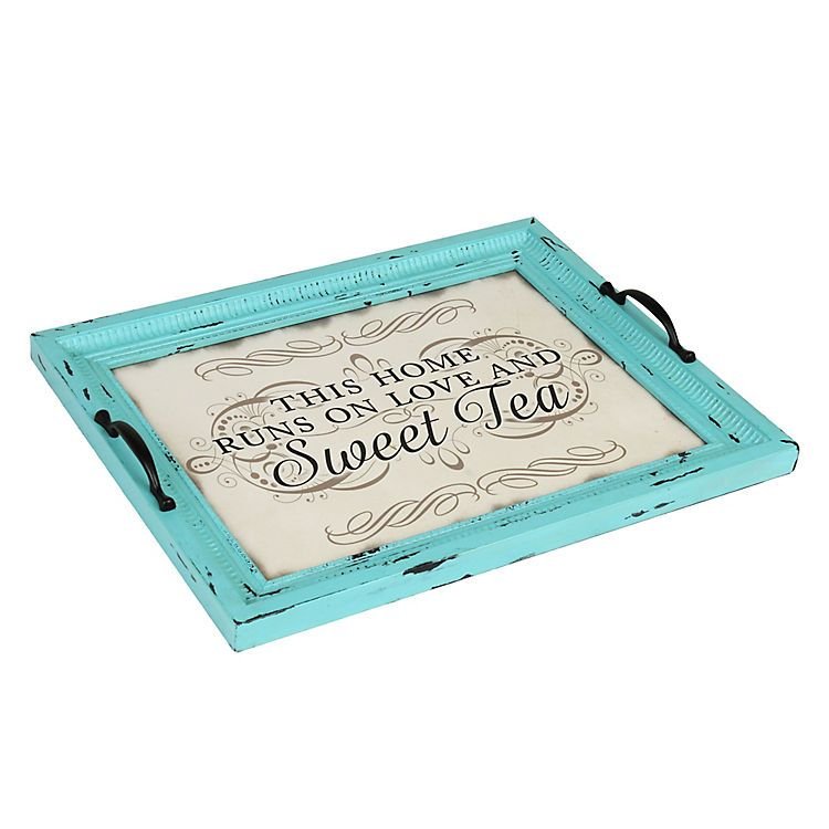 Decorative Trays Distressed Turquoise Sweet Tea Decorative Tray  Decorative Trays
