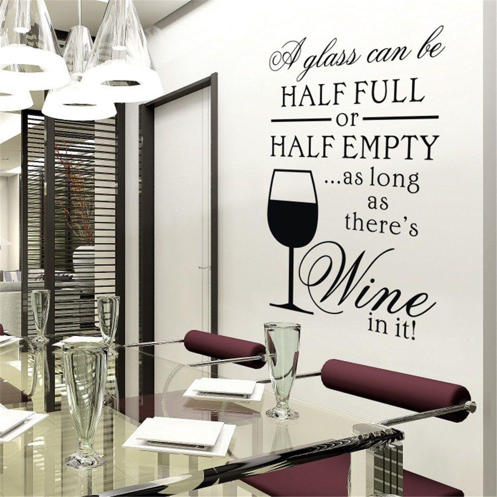 Half Full Half Empty Wine Glass Dining Room Vinyl Wall Decal DIY Sticker Decor #Budgettank #Modern