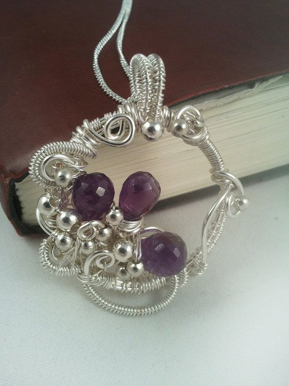 Wire Wrapped Pendant  Amethyst Pendant  Wire by EmmaWyattArt, £35.00