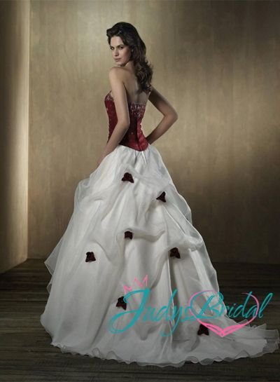 Jol150 Vintages Red And White Colored Flowers Ball Gown Wedding Dress