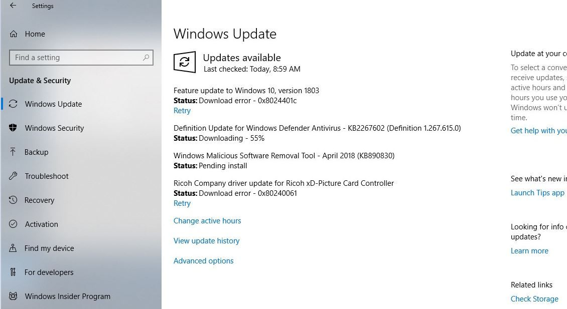 Solved: Windows 10 April 2018 Update version 1803 failed to