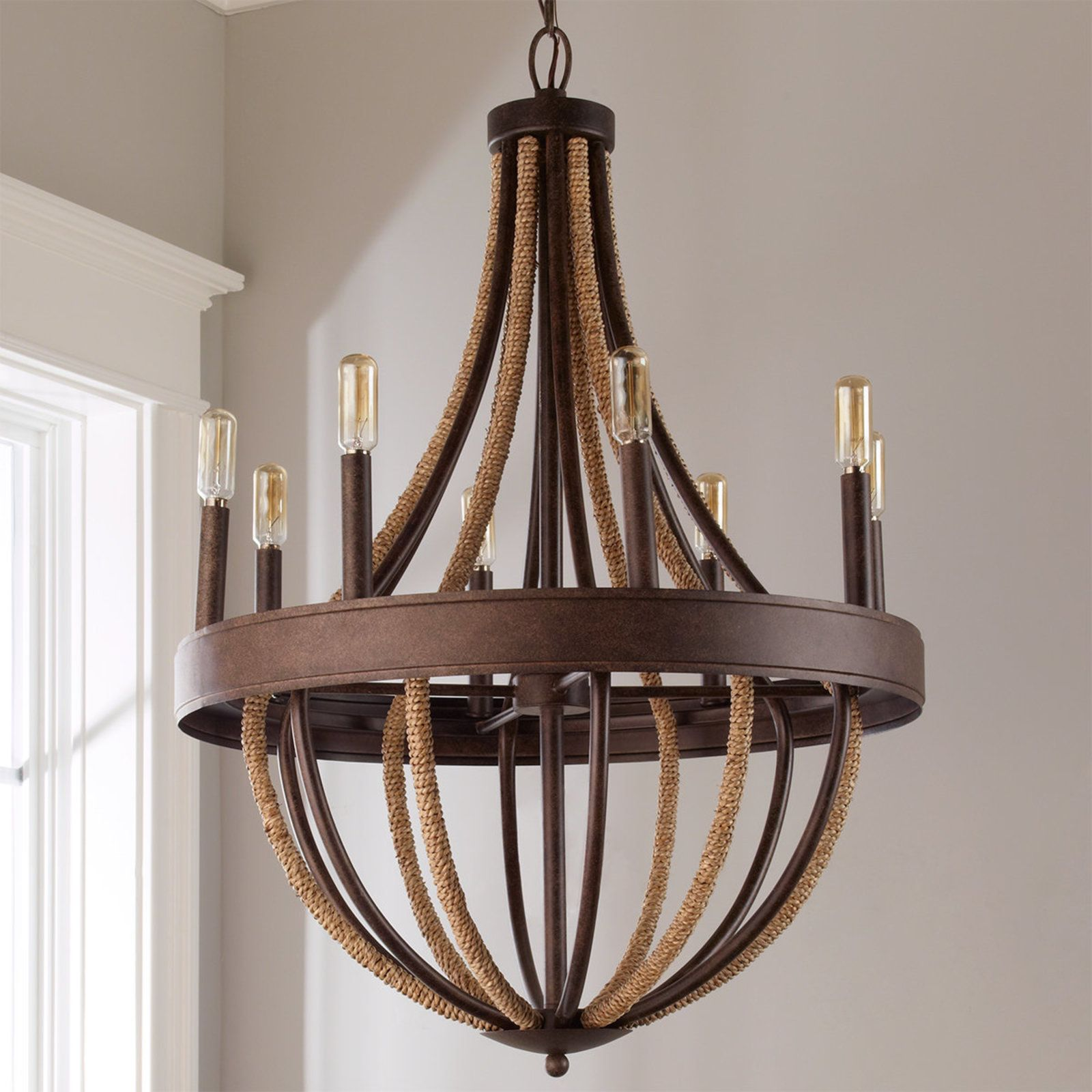 Rustic rope wrapped chandelier large bronze rope transitional home decor transitional kitchen transitional lighting