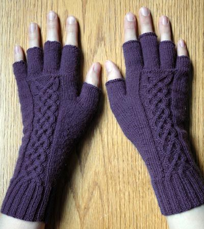 Knit Tipless Gloves With Celtic Cable Random Ideas