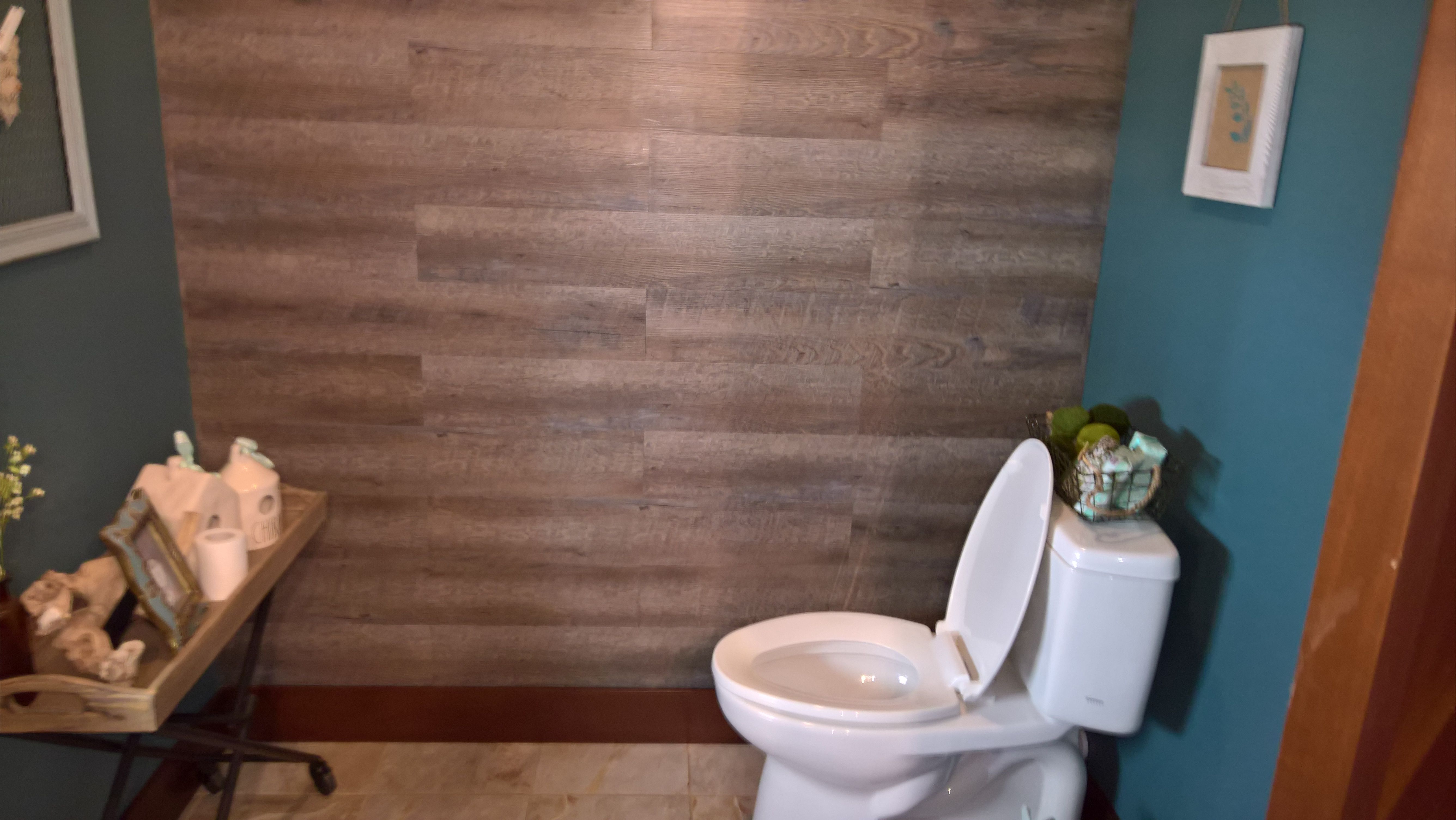 Used peel and stick vinyl floor tile from Lowes for 89