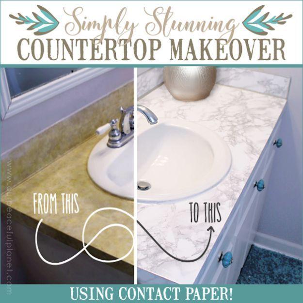 DIY Remodeling Hacks - Countertop Makeover Using Contact Paper ...