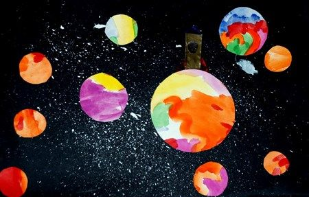 outer space collage paint large abstract painting 1st cut into