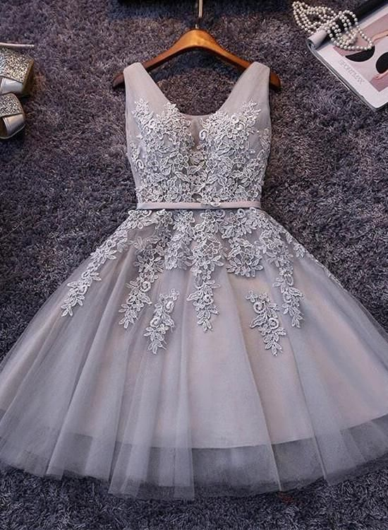 Grey Homecoming Dresses 2018, Sexy Short Prom Dresses, Lace and Tulle Dresses