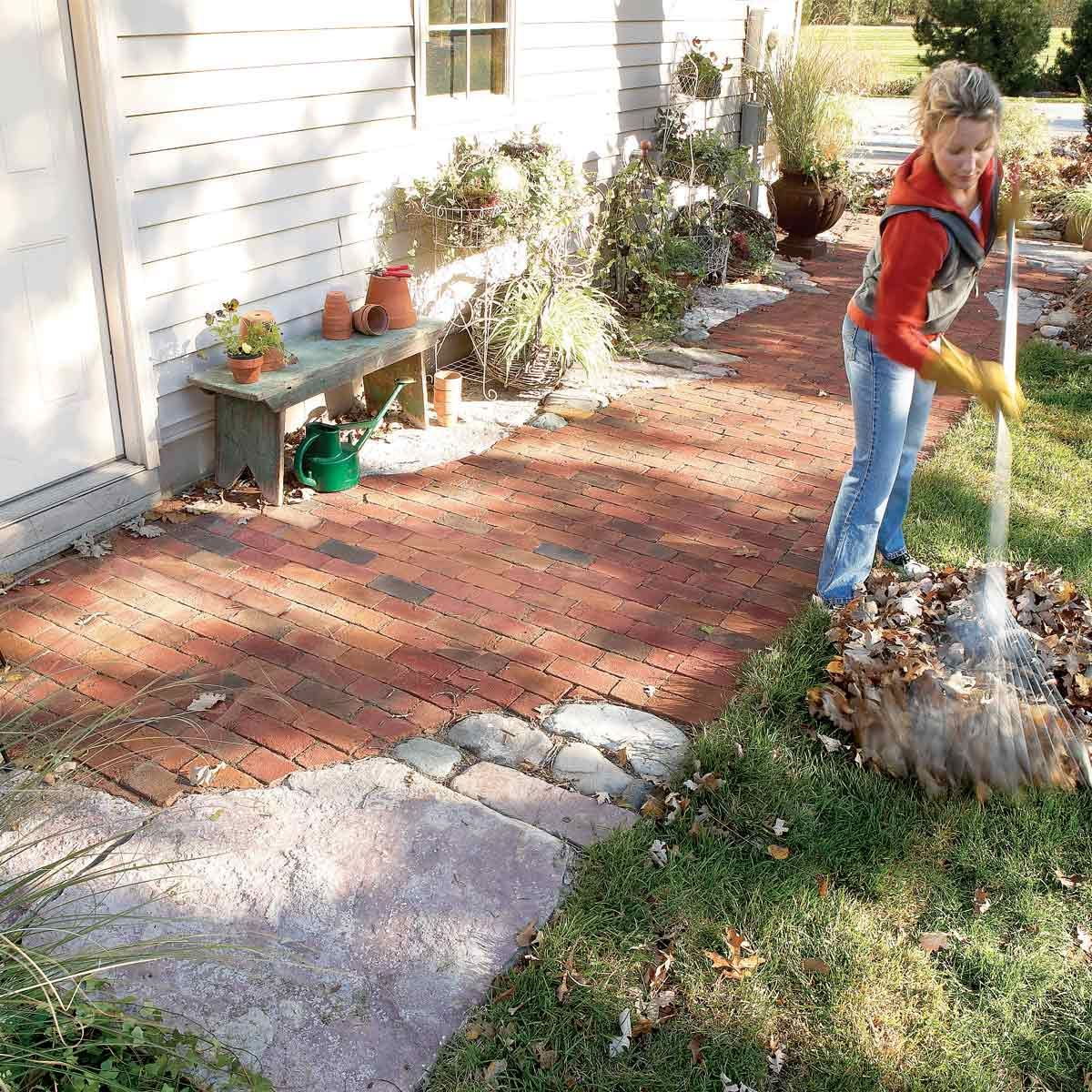 How To Build Pathways Brick And Stone Pathways Backyard Makeover Stone Pathway Brick And Stone
