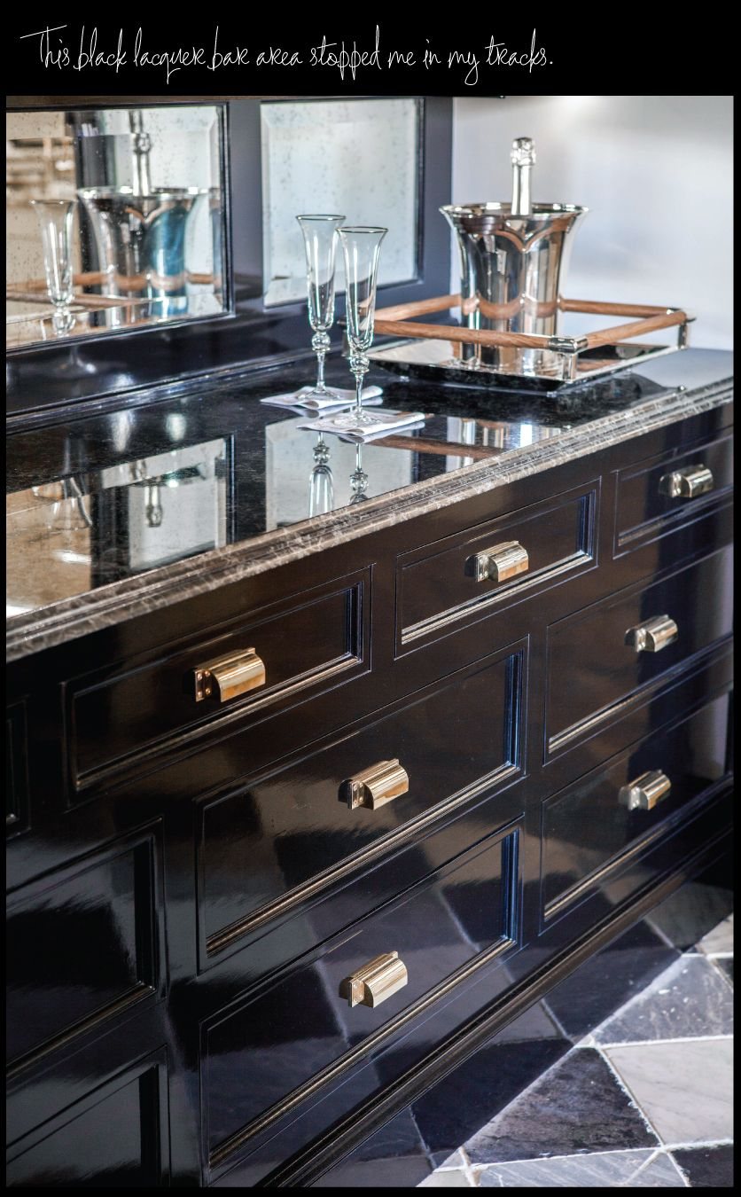 Gorgeous black lacquer cabinets - Check out the hardware ...