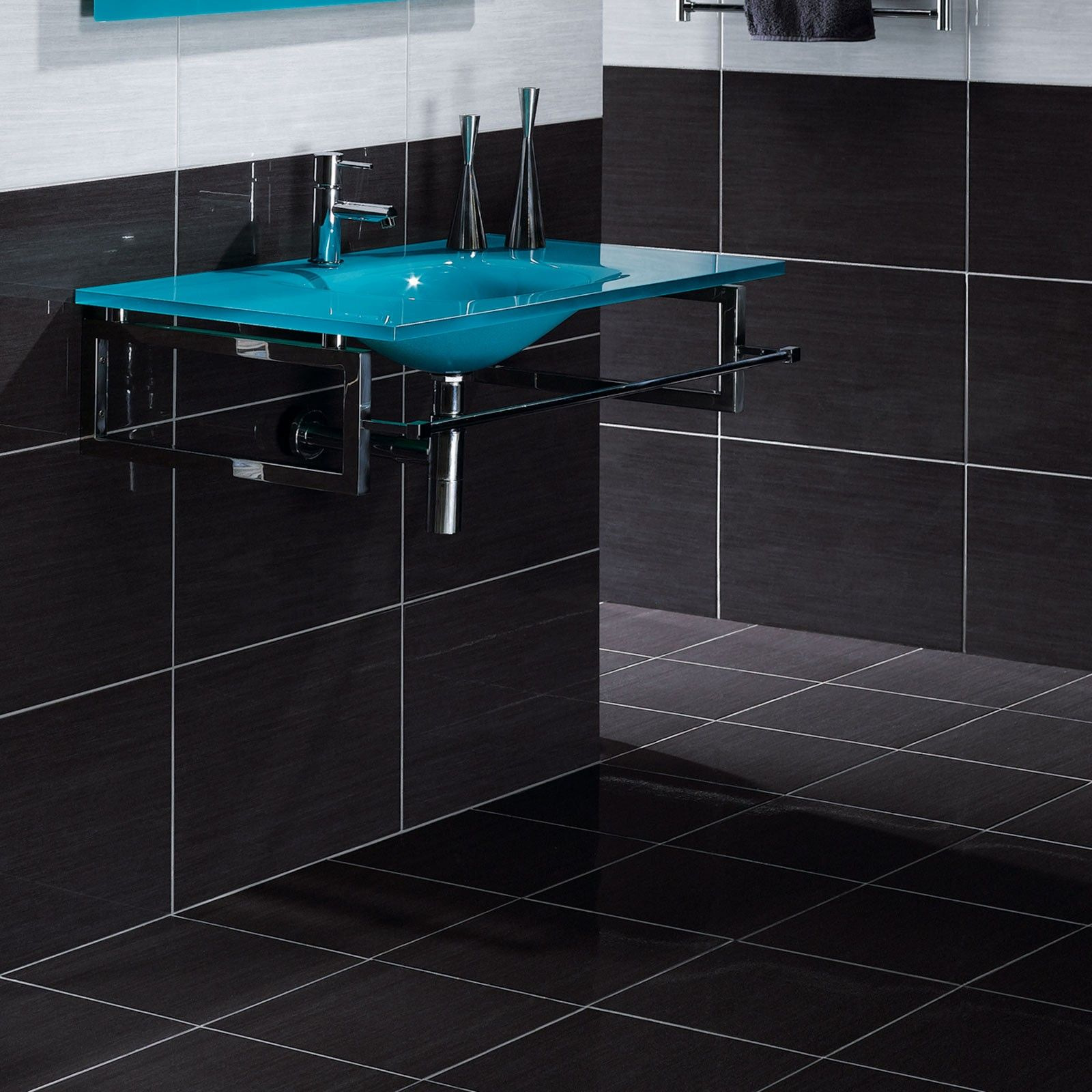 Black and white and turquoise bathroom ideas - Forum Antracite Ceramic Wall Tile Black And White Bathroom Ideas Black Tiles Better