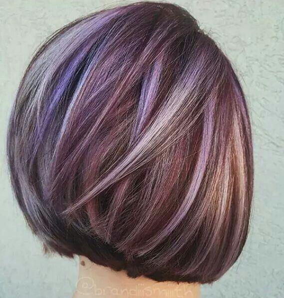 Purple Hilights Gorgeous Hair Pinterest Hair Coloring