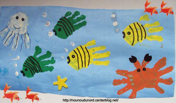 Poissons Empreintes De Mains Pour Feter Le 1er Avril Bricolages Sur Le Theme Des Animaux Peinture Avec Les Mains Activite Poisson D Avril