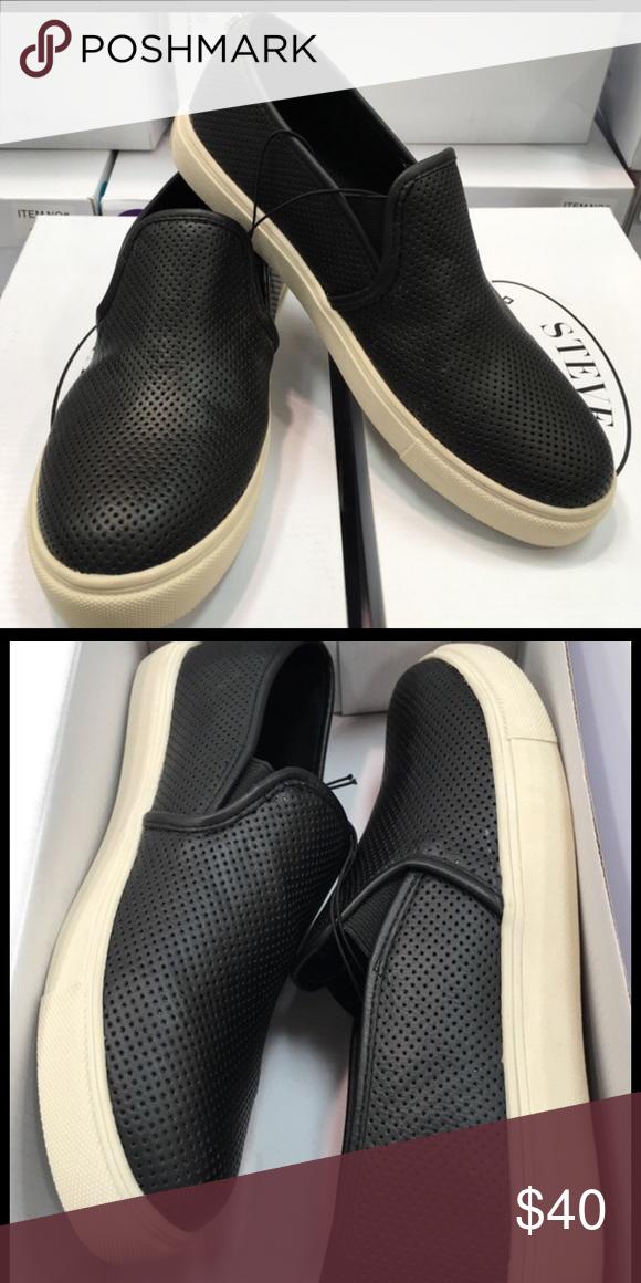 Brand new Steve Madden black slip on shoes Brand new, straight from the box. Steve Madden Shoes