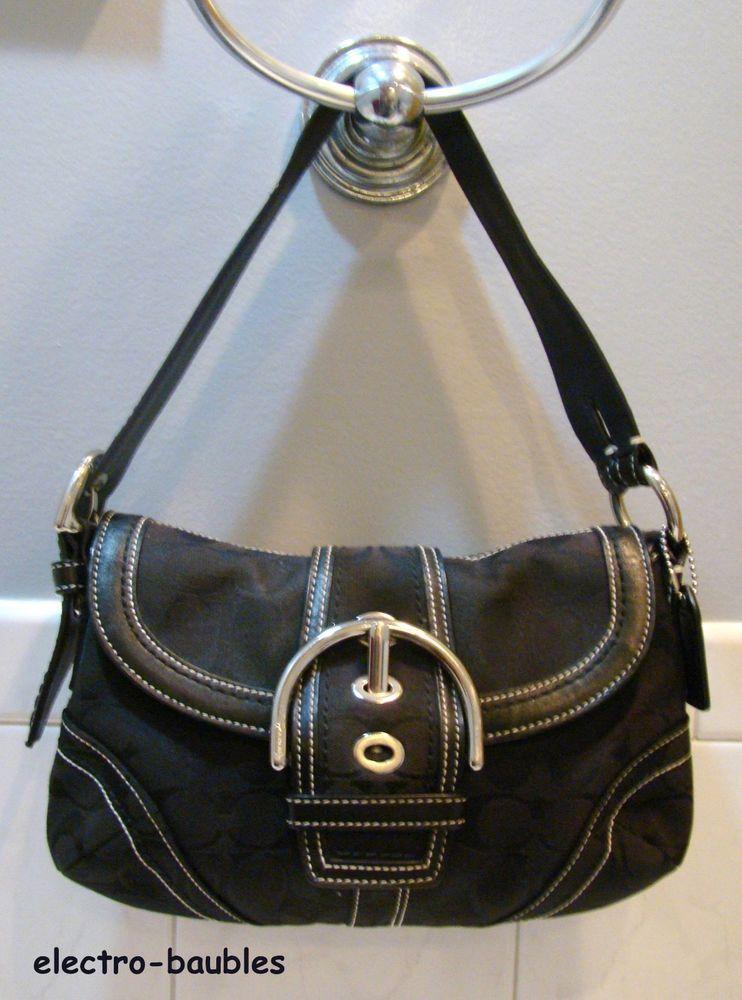 Authentic Coach G060 10296 Black Soho Hobo Signature Jacquard Leather Bag
