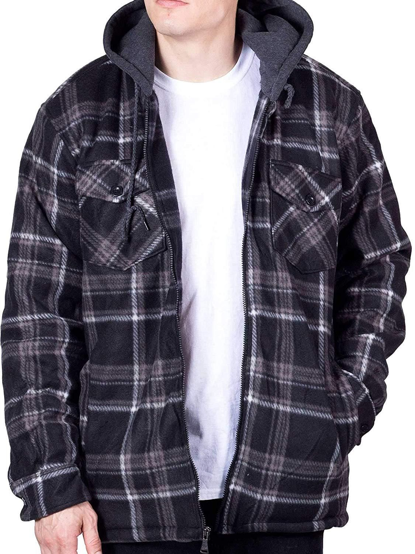 Visive Mens Flannel Hoodie Jackets For Men Zip Up Fleece Sherpa Lined Shirt Blue White Black 3x Tall Plaid Winter Jacket Flannel Hoodie Fleece Jacket [ 1500 x 1125 Pixel ]