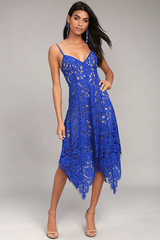 3af4765603 Lulus Exclusive! The One Wish Royal Blue Lace Midi Dress is a dream come  true! Floral eyelash lace overlay tops a nude stretch knit liner across a  triangle ...
