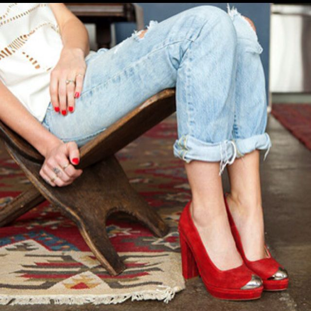 Jeans and red shoes :)