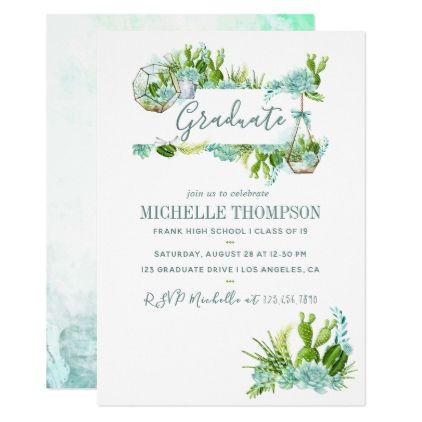 Watercolor Desert Cactus Succulents Graduation Card Invitations Custom Unique Diy Personalize Occasions