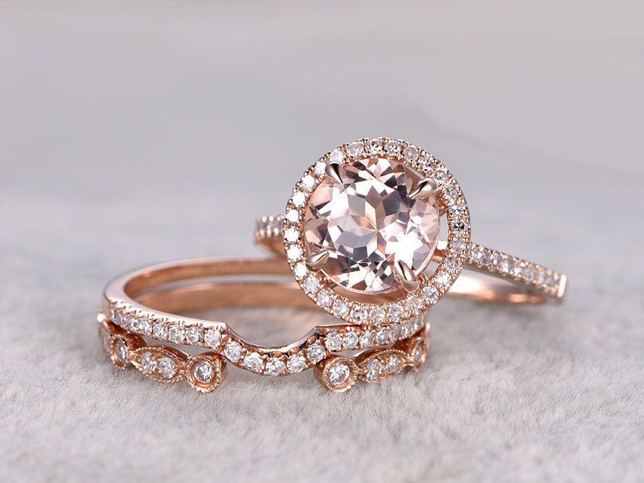 3pcs Morganite Rose Gold Wedding Set Diamond Eternity Ring 8mm
