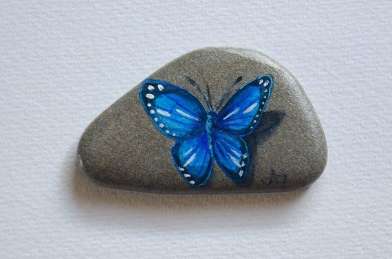 Handpainted Rock Painted Rock Butterfly Stone Art Steine