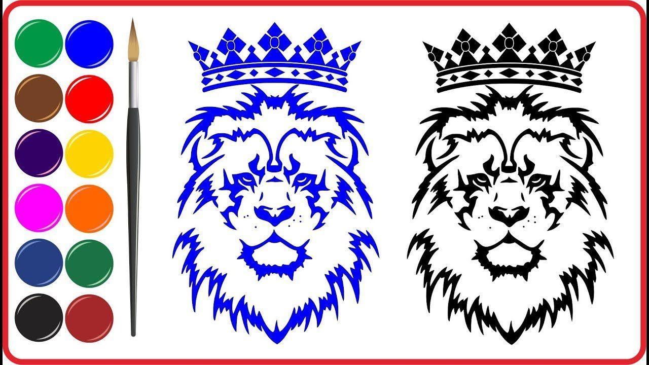 Menggambar Dan Mewarnai Vektor LION Dengan Gambar