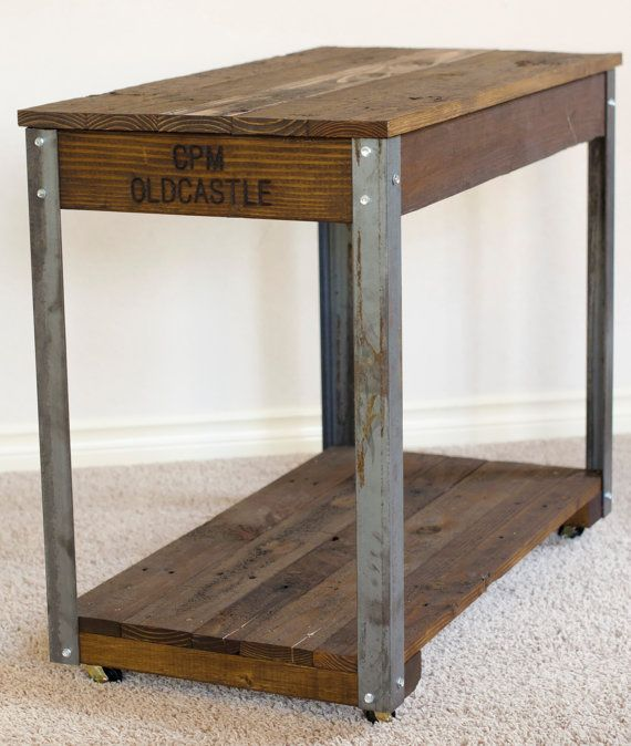 Rustic Industrial Coffee / Side Table 17 Wide X 31 Long X 25 3/4
