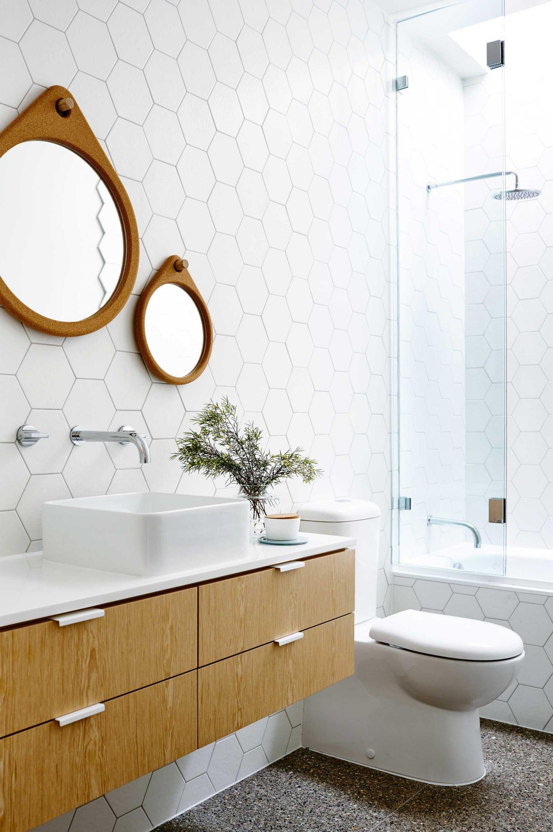 Modern White Bathroom Hexagon Tiles Timber Drawers