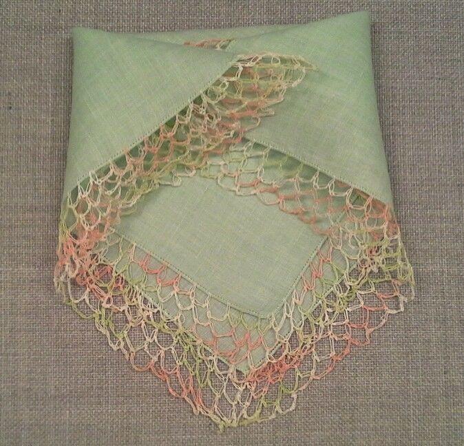 Vintage Mint Green Linen Handkerchief Hankie Variegated Peach Mint Crochet Edge