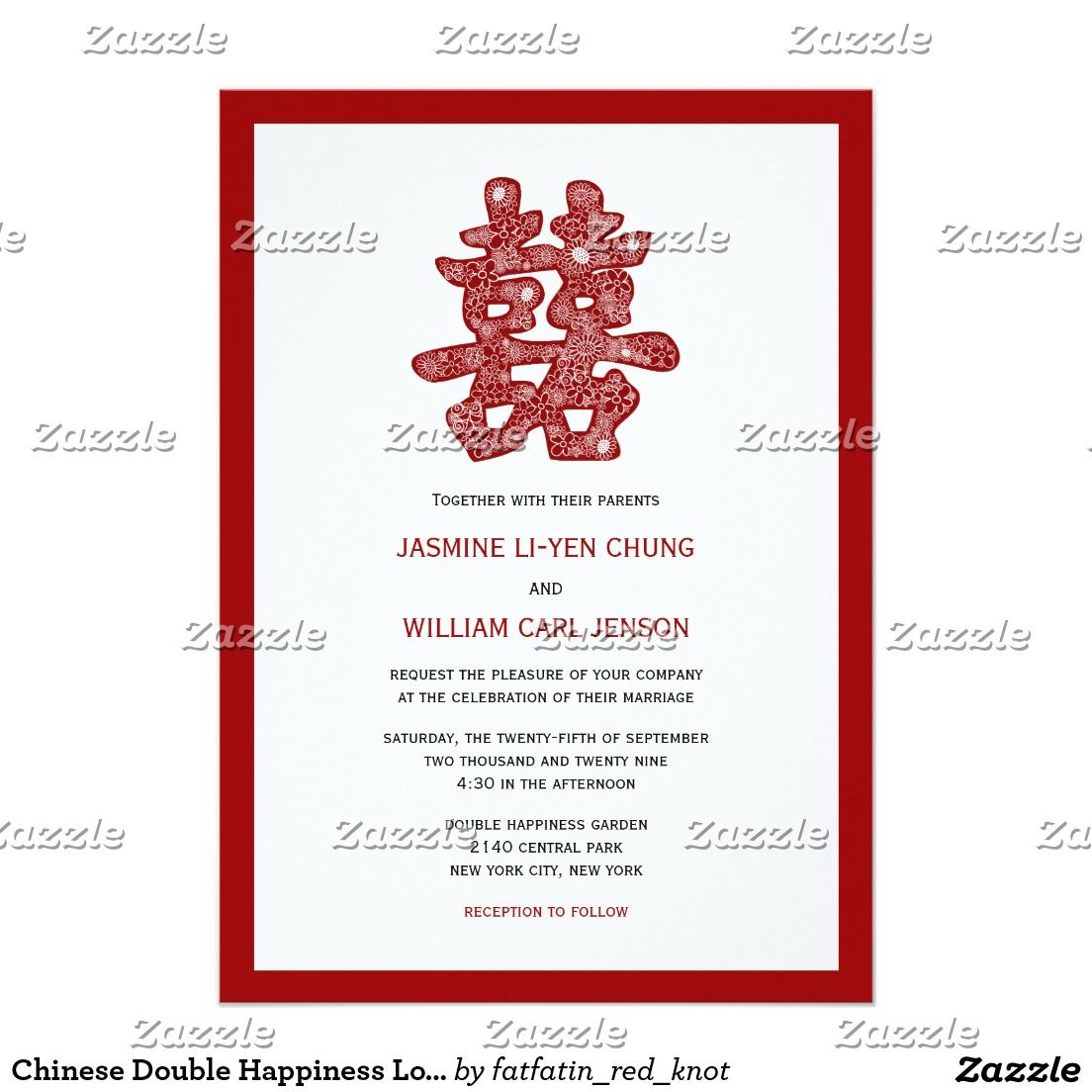 Floral Double Happiness Chinese Wedding Invitation | Invitations ...