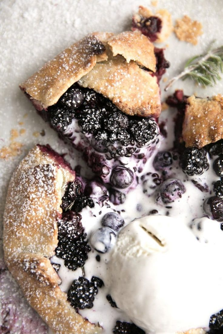 Rustic Blackberry and Blueberry Galette with Rosemary