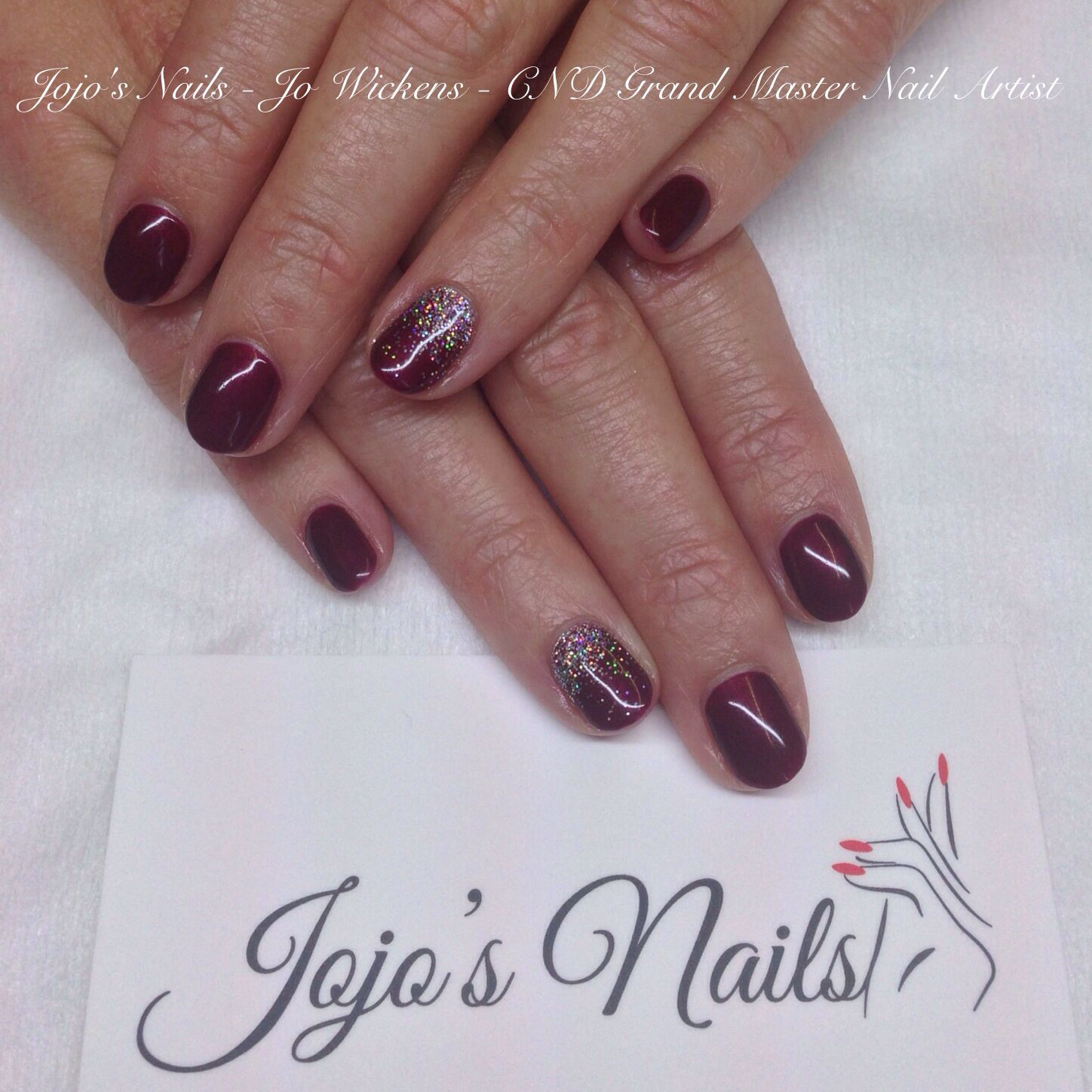 CND Shellac Manicure with glitter fade accent nails - By Jo Wickens @ Jojo's Nails - www.jojosnails.com