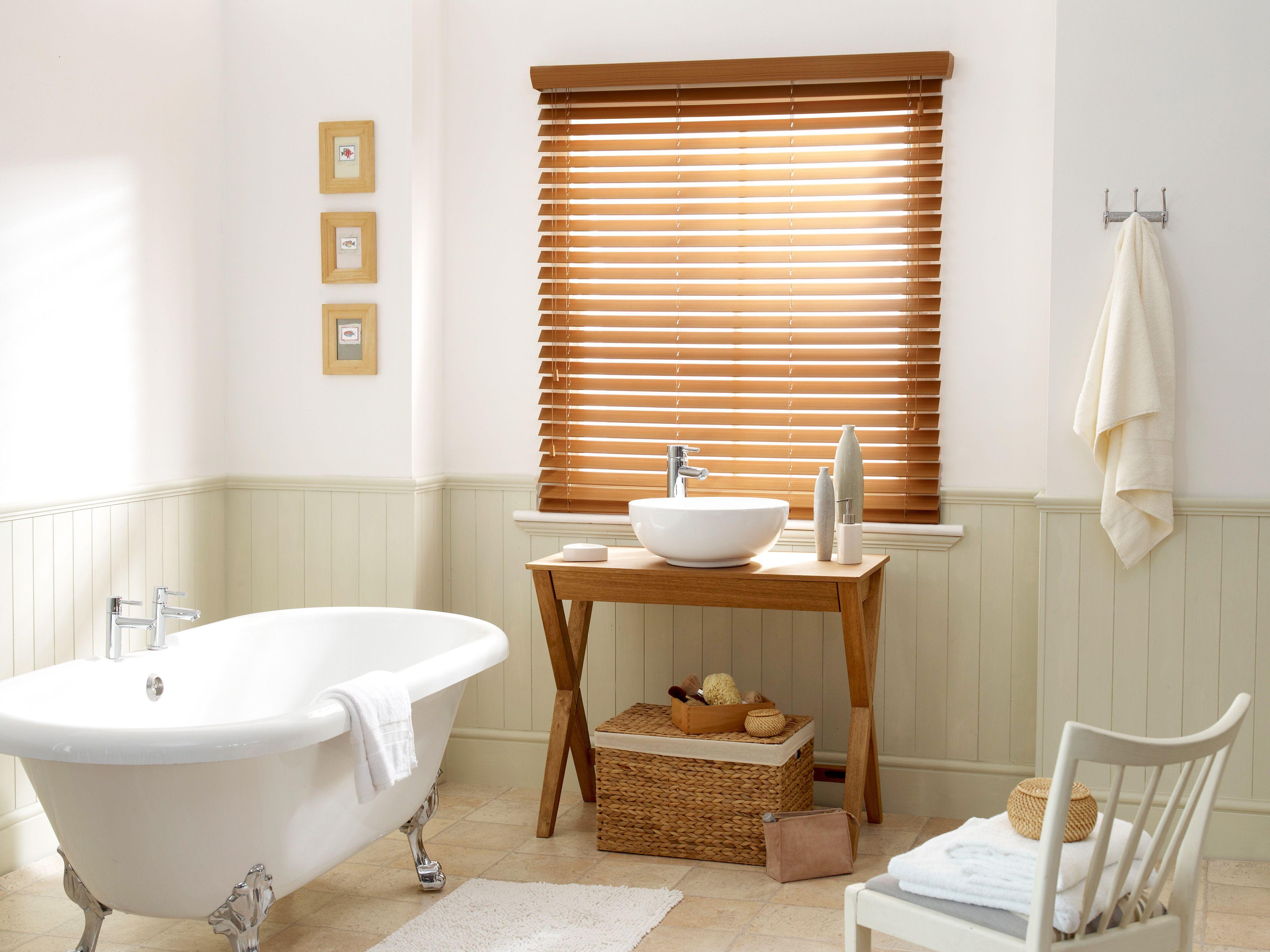 Warm oak faux wood blind 50mm slat window faux wood blinds and woods for What type of blinds for bathroom
