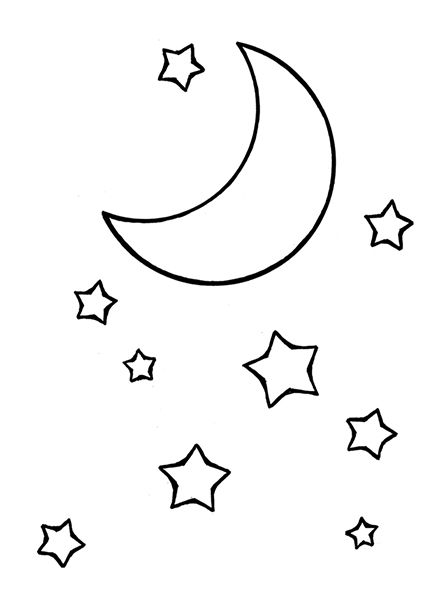 A Line Drawing Of The Moon And Stars From The Nursery Manual
