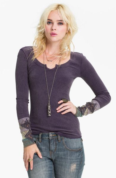 3b0d68ca8e9f5 Free People Purple Kombucha Embroidered Thermal Top