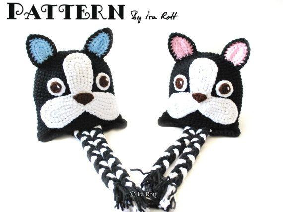 dc1c2e53b9a Oscar The French Bulldog or Boston Terrier Hat PDF Crochet Pattern ...