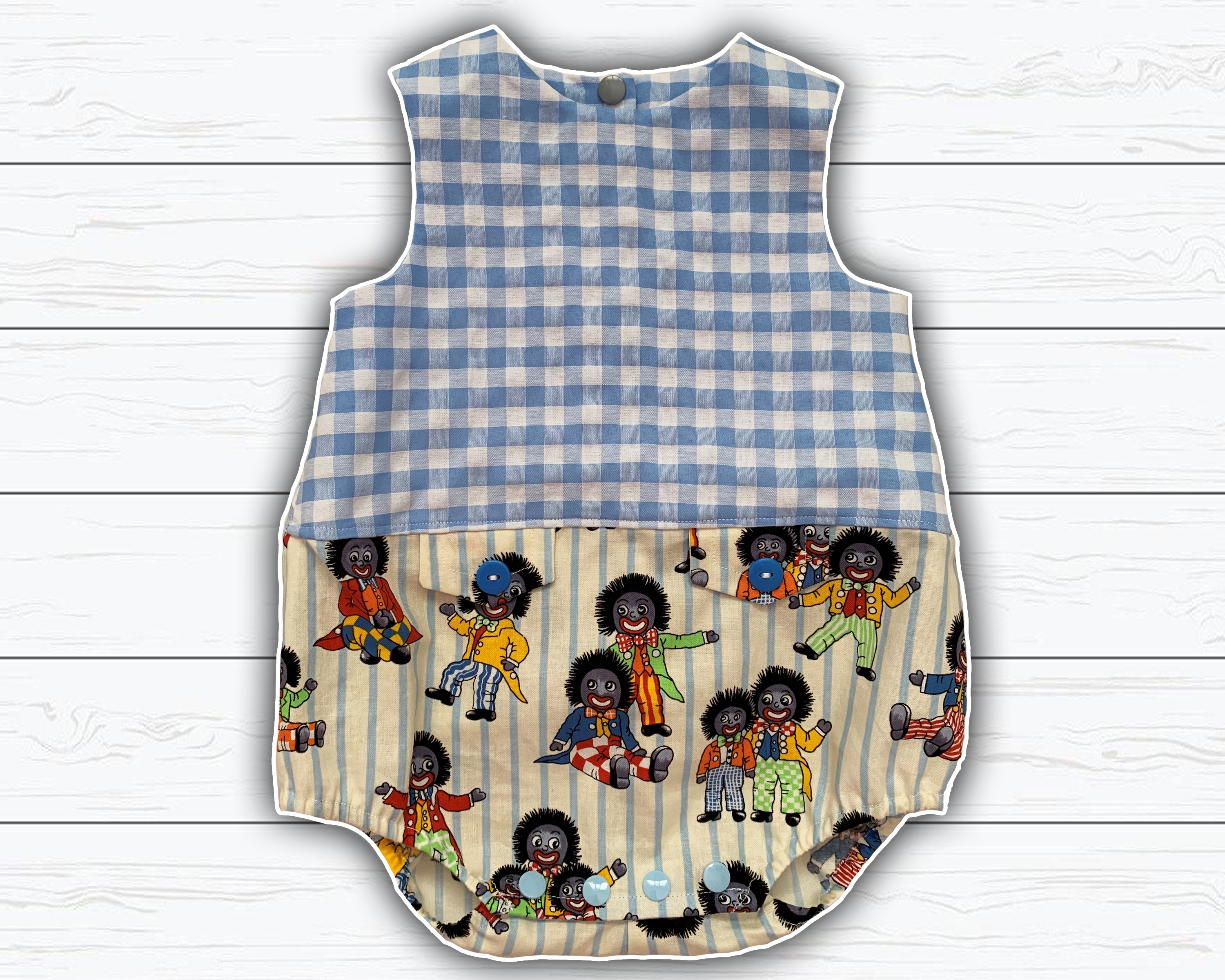 Photo of gingham baby boy romper | vintage print | size 6 months boys…