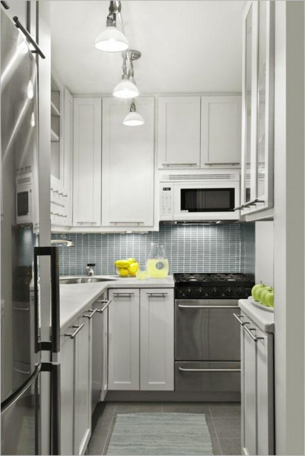 kleine räume einrichten moderne kleine küche pendelleuchten | Küche ...