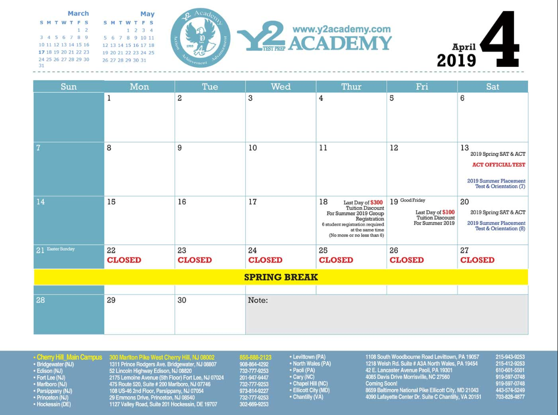 ACT & SAT Courses Registration Calendar of 2018-2019 | Best