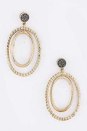 KARMAS CANVAS DOUBLE OVAL EARRINGS Copper * Want to know more, click on the image. Note:It is Affiliate Link to Amazon.