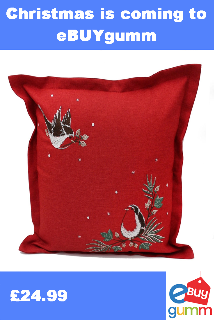 Snowdust Robins Embroidered Christmas Cushion from the