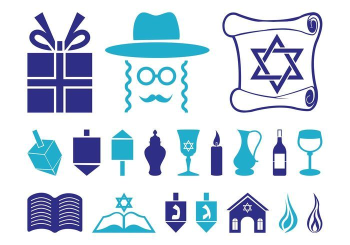 Hanukkah Icon Set 137976 Religion And Holidays Vector Graphics Of
